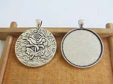 10 x 35mm Round Rose Flower Pendant Tray Bezel Blank Cameo Cabochon Base Setting