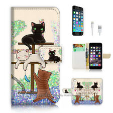 ( For iPhone 7 ) Wallet Case Cover P1944 Cat