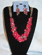 SIMPLY VERA WANG NWT $56 women's necklace and earrings set raspberry pink gray