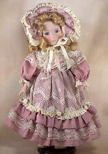 "Collector's Porcelain Doll 15"" Sandy Blond Hair Blue Eyes"
