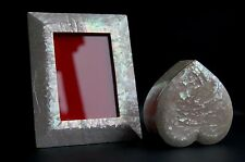 SET of 2 MOTHER of PEARL picture FRAME & HEART JEWELRY keepsake TRINKET box-RARE