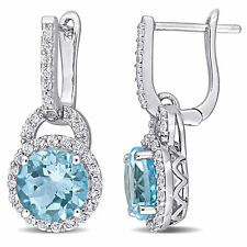 Amour Silver Sky-Blue and White Topaz Halo Dangle Cuff Earrings