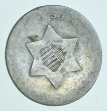 RARE Silver Trime Worn Date Three Cent Silver 3 Cent Early US Coin Look up *073