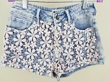 ROXY Mini Short Shorts Juniors Size 3 Pink Floral Lace Front Blue Denim