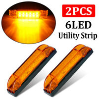"2x 4"" Amber LED Light 12-24V Sealed Utility Strip Bar Lights 6LED RV Marine Boat"