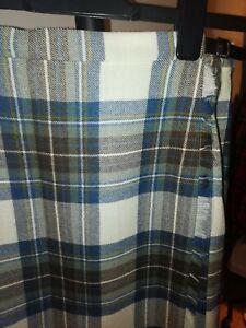 Ladies 100%Scottish Kilt and Waistcoat traditional cream and blue tartan. 16.