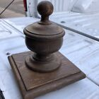"c1900 vintage classic newel post finial cap OAK 8"" h c 7.5"" sq base orig varnish"