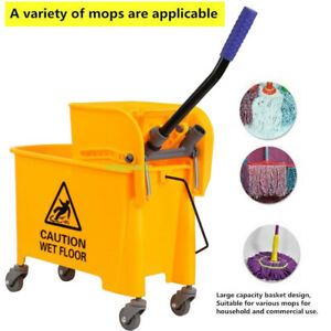 5 Gallon Commercial Mop Bucket with Side Press Wringer Rolling Cleaning Cart