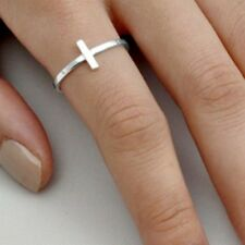 .925 Sterling Silver Ring size 6 Cross Christian Midi Ladies Sideways New p71