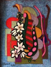 Superbe grand pastel Abstraction et Nature morte signé R Revaute Abstrait 1979