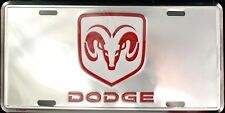 "Dodge Ram 6"" x 12"" Chrome Embossed Metal License Plate Tag"