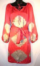 Letarte Dress Swimsuit Cover Up Large Red Beige Silk Geo Diamond Print Belt $318