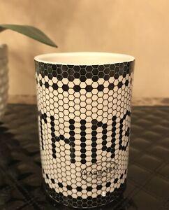 "Kassatex Black & Ivory Mosaic Tiles ""THINGS"" Fine Porcelain Bathroom Tumbler"
