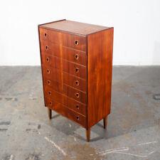 Mid Century Danish Modern Highboy Dresser 7 Drawer Teak Wood Denmark Restored Nm