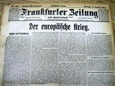 August 1914 bound volume German newspapers Ww I begins Germany invades Belgium