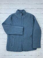 Gallery Women's Quilted Jacket Size Medium Full Zip Long Sleeves Mock Neck Coat