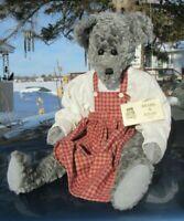 "VINTAGE TEDDY BEAR 24"" SILVER GRAY OOAK ARTIST FLO BEARS N STUFF DOLL FUR COAT"