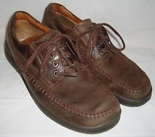 ECCO Dark Brown Nubuck Leather Oxfords 40 9 Lace Up Walking Shoes