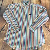 Faconnable Button Front Long Sleeve Dress Shirt Rainbow Easter Size Small