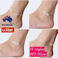925 Sterling Silver Chain Anklet Ankle Bracelet Foot Beach Feet Jewellery