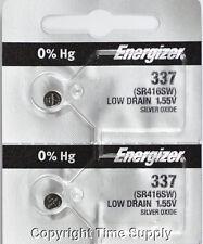 2 pcs 337 Energizer Watch Batteries SR416SW SR416 0% Hg