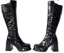 Passiflore 37 Lackleder Stiefel Lederstiefel Plateau leather boots vintage Lack