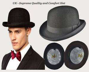 Mens Bowler top Hat Supreme Quality Felt for special day-Many Colour-iHatsLondon