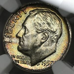 1957 Roosevelt Dime NGC MS66+ Plus - Rainbow Toning, nice eye appeal