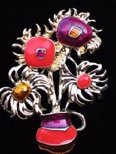 ORANGE PURPLE WHIMSICAL NEW VOGUE VAN GOGH SUNFLOWER FLOWER VASE BROOCH JEWELRY