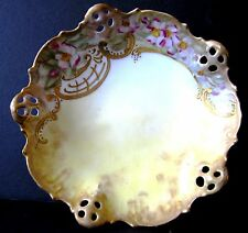 Antique Hand Painted Pierced Reticulated Fruit Nut Dish Bowl BRC Moliere Germany
