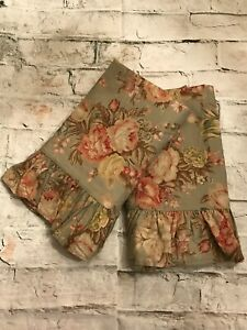 Vintage Ralph Lauren Charlotte Sage Green Floral Pair King Ruffled Pillow Shams
