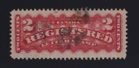Canada Sc #F1b (1888) 2c rose carmine Registered Letter VF Used w/Fancy Cancel