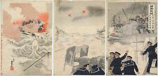 UW»Estampe japonaise originale triptyque - scène de la guerre Russo-japonaise 16