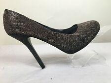 Nina New York Rhinestone Stiletto, Silver and Black Size 10 M Heel Five Inches