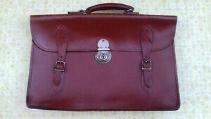Vintage Leather School Satchel  Document Holder Briefcase Music Case Bag c1950