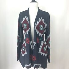 Lucky Lotus Womens Embroidered Aztec Pocket CardiganSize S