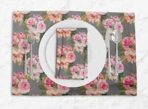 S4Sassy Stripe & Ranunculus Floral Placemats With Napkins Table Decor-FL-147F