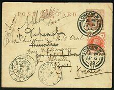 United Kingdom 1900 private postal stationery pc + 5 cancel, redirections