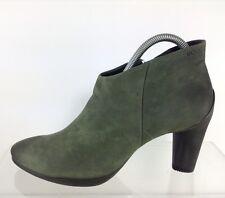Ecco Womens Green Leather Ankle Boots 40