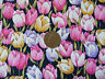 NAVY WITH A DESIGN OF PINK, GOLD & LILAC TULIPS - 100% COTTON FABRIC FQ'S