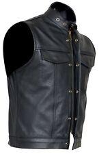 Cut off Cowhide Leather Mens Womens Vest Waiscoat ( Gilet Biker Motorcycle)