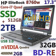 "(3D-Design 17.3"" FHD) HP 8760W i7-Quad (BD-RE 512GB-SSD + 2TB 32GB) nVIDIA"