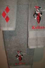 Harley Quinn Personalized 3 Piece Bath Towel Set  Comic Book Your Color Choice
