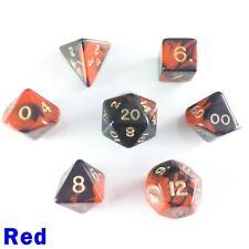 Oblivion Poly 7 Dice RPG Set Red Black Pathfinder 5e D&D Dungeon Dragon Roleplay