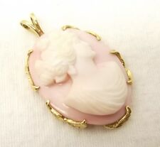 Vtg 14K Gold Carved Shell Cameo Pendant Hellenic Grecian Womans Face Large