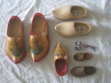 vintage wooden shoes Holland wood shoe lot hand painted clogs clog  souvenir