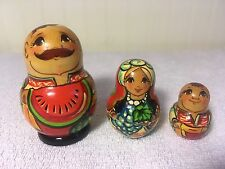 Stackable Russian? Wood Nesting Doll Lot Of Three Hand Painted Dolls