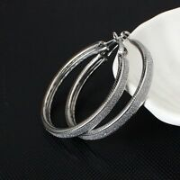 LARGE SILVER PLATED MADE WITH BRUSHED CRYSTALS HOOP EARRINGS 50MM SLV1 XMAS GIFT