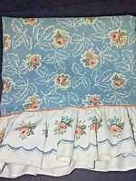 Vintage Lady Pepperell Floral Ruffled King Pillowcase (1) Aqua Peach Creme