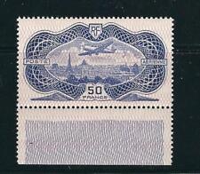 France C15 Yv PA15 50 Fr Ultramarine Banknote Margin MNH VF 1936 SCV $1700.00